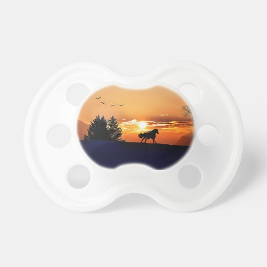 running horse  - sunset horse - horse baby pacifiers