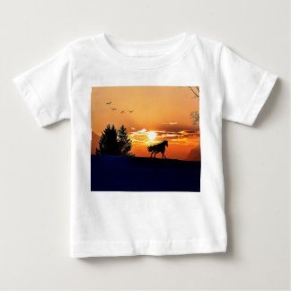 running horse  - sunset horse - horse baby T-Shirt