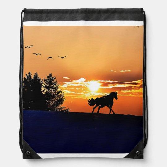 running horse  - sunset horse - horse backpack