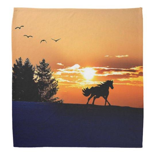 running horse  - sunset horse - horse bandana