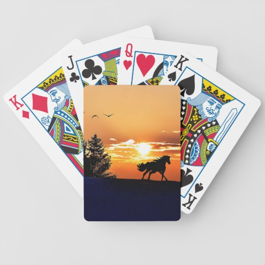 running horse  - sunset horse - horse bicycle playing cards