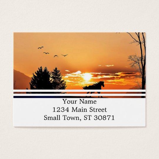 running horse  - sunset horse - horse business card