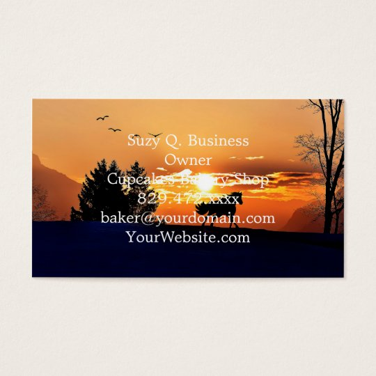 running horse  - sunset horse - horse business card