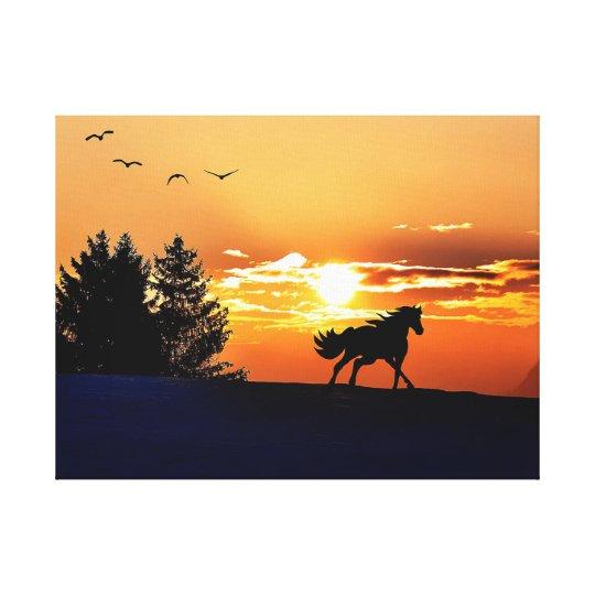 running horse  - sunset horse - horse canvas print