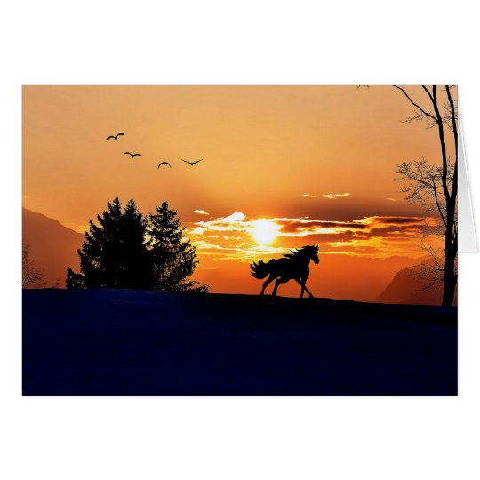 running horse  - sunset horse - horse card