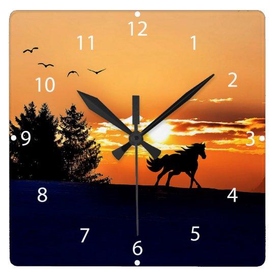 running horse  - sunset horse - horse clocks