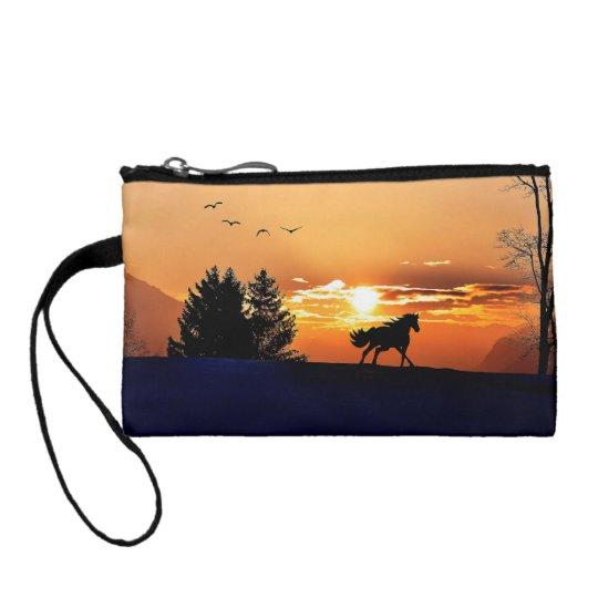 running horse  - sunset horse - horse coin purse