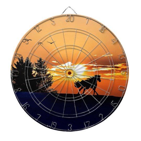 running horse  - sunset horse - horse dartboard