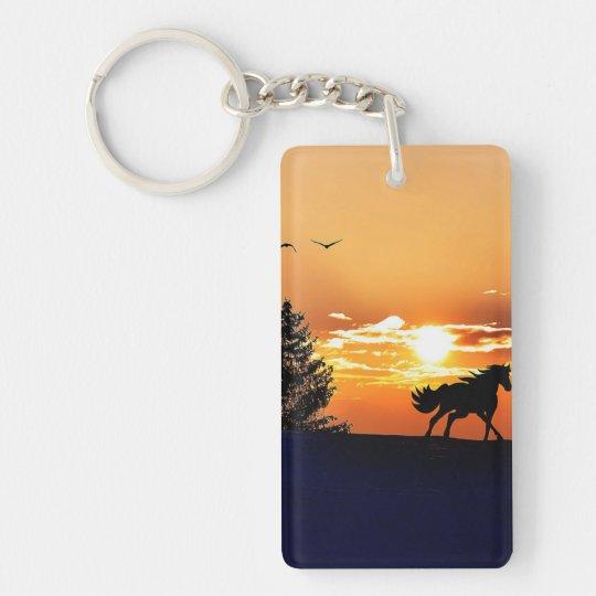 running horse  - sunset horse - horse Double-Sided rectangular acrylic keychain