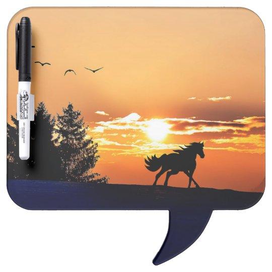 running horse  - sunset horse - horse dry erase board