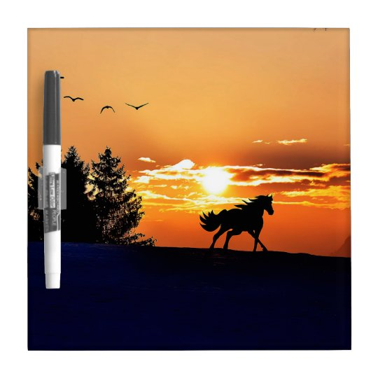 running horse  - sunset horse - horse Dry-Erase board