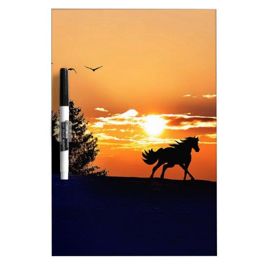running horse  - sunset horse - horse dry erase boards