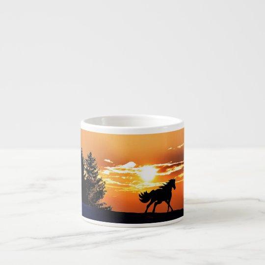 running horse  - sunset horse - horse espresso cup