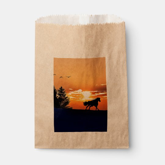 running horse  - sunset horse - horse favour bag