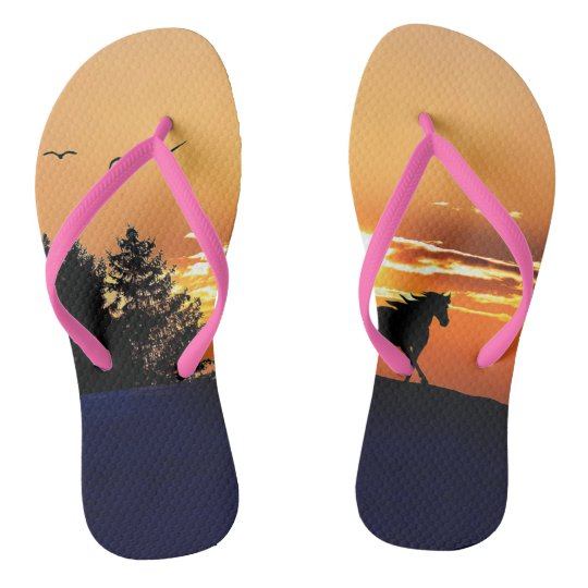 running horse  - sunset horse - horse flip flops