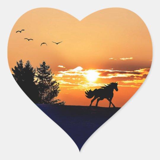 running horse  - sunset horse - horse heart sticker