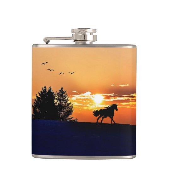 running horse  - sunset horse - horse hip flask