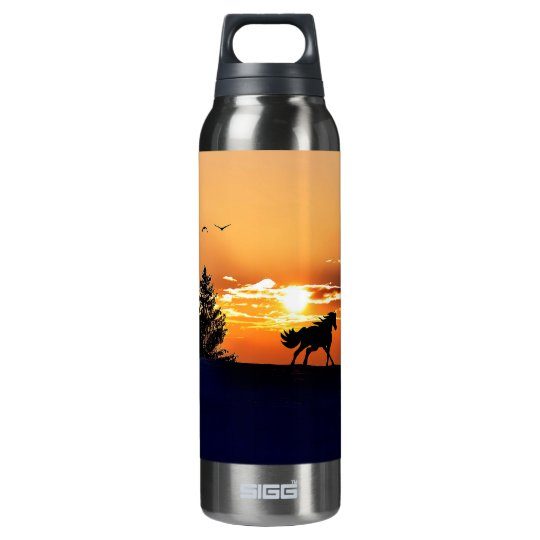 running horse  - sunset horse - horse insulated water bottle