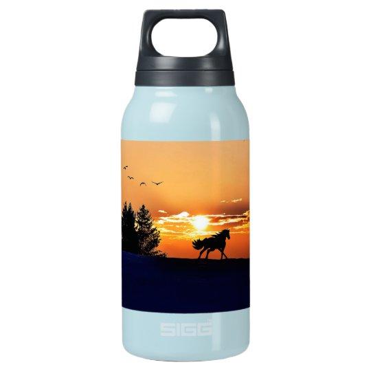 running horse  - sunset horse - horse insulated water bottle