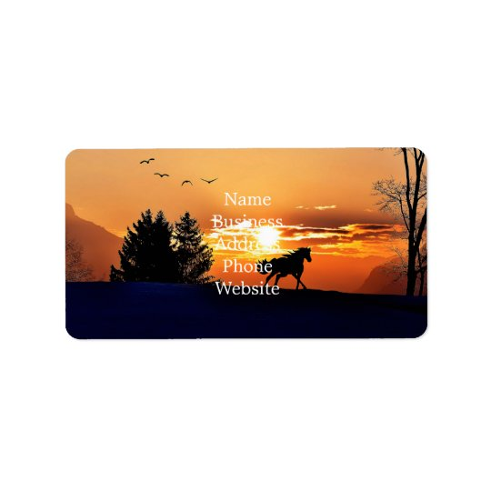 running horse  - sunset horse - horse label