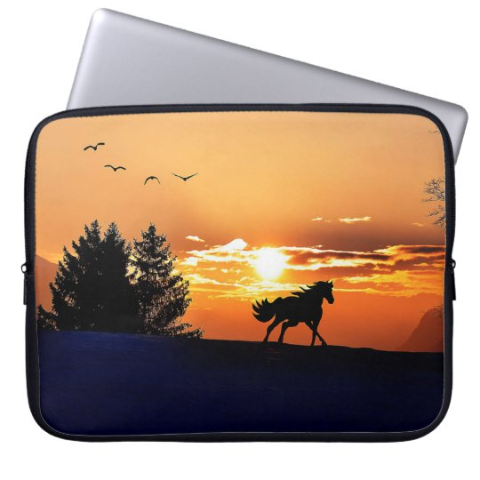 running horse  - sunset horse - horse laptop computer sleeves