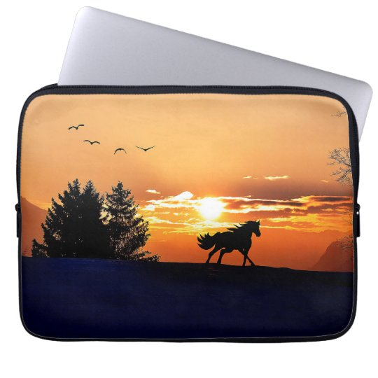 running horse  - sunset horse - horse laptop sleeves