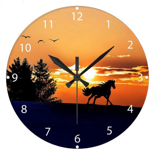 running horse  - sunset horse - horse large clock