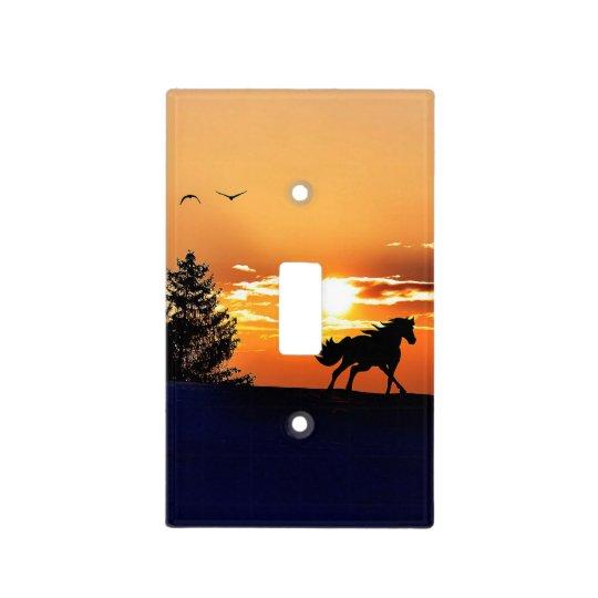 running horse  - sunset horse - horse light switch cover