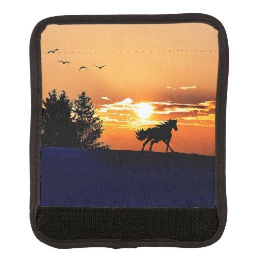 running horse  - sunset horse - horse luggage handle wrap