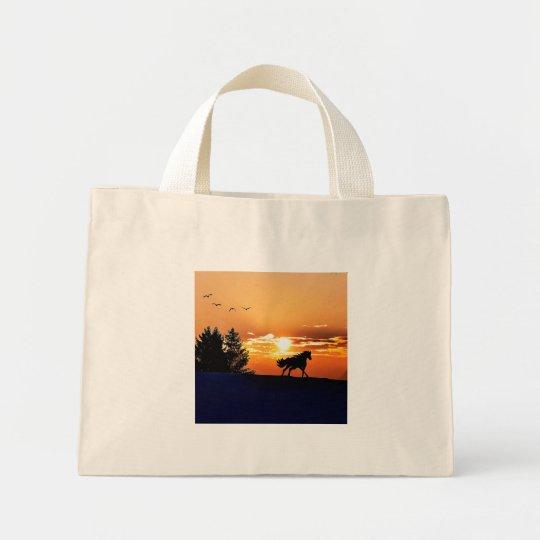 running horse  - sunset horse - horse mini tote bag