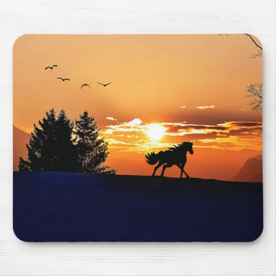 running horse  - sunset horse - horse mouse pad