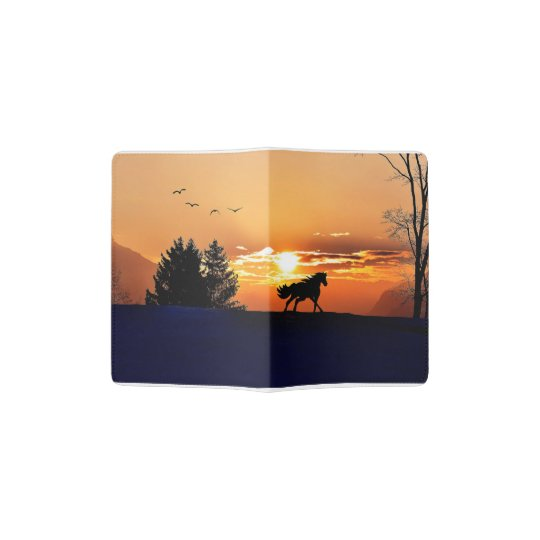 running horse  - sunset horse - horse passport holder