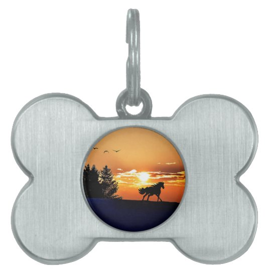 running horse  - sunset horse - horse pet name tag
