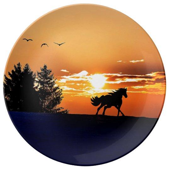 running horse  - sunset horse - horse porcelain plate