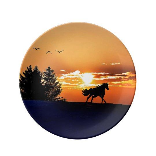 running horse  - sunset horse - horse porcelain plates