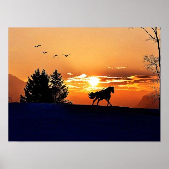 running horse  - sunset horse - horse poster