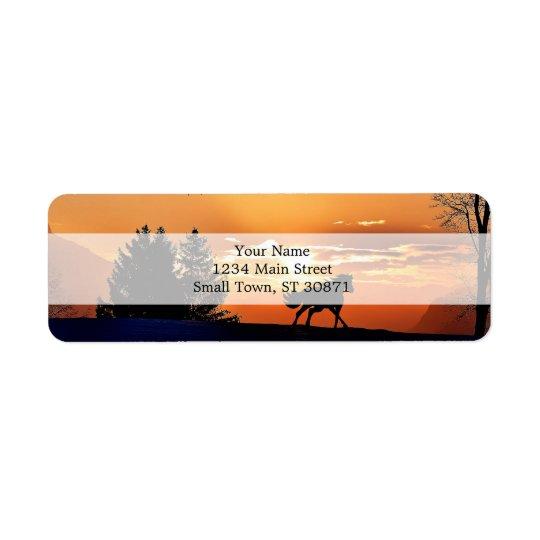 running horse  - sunset horse - horse return address label