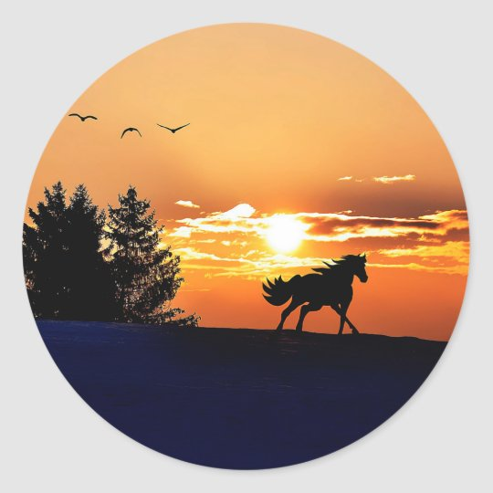 running horse  - sunset horse - horse round sticker