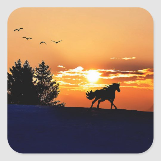 running horse  - sunset horse - horse square sticker