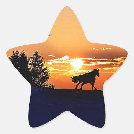 running horse  - sunset horse - horse star sticker