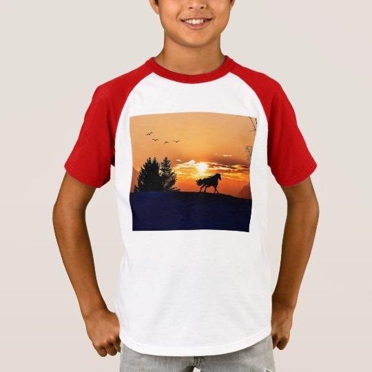 running horse  - sunset horse - horse T-Shirt