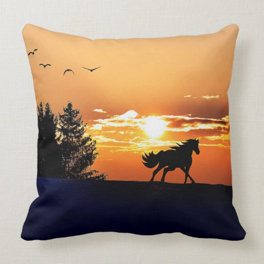 running horse  - sunset horse - horse throw pillow