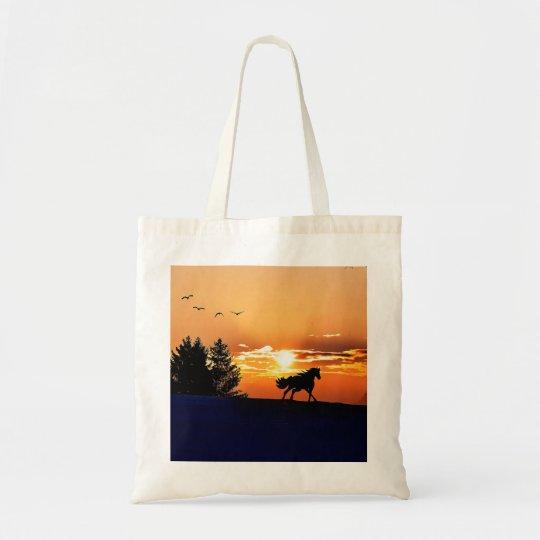 running horse  - sunset horse - horse tote bag