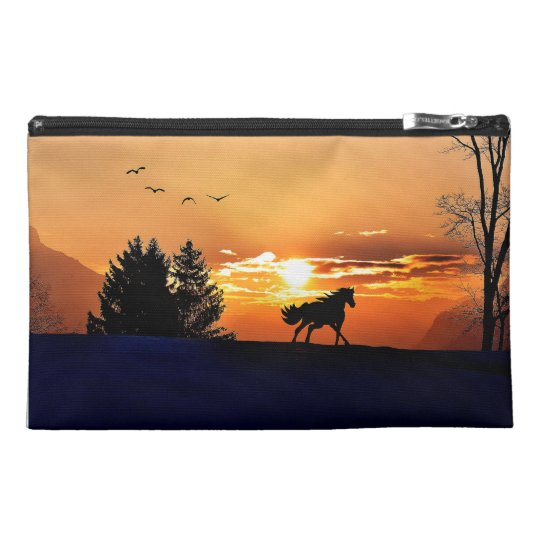 running horse  - sunset horse - horse travel accessory bag