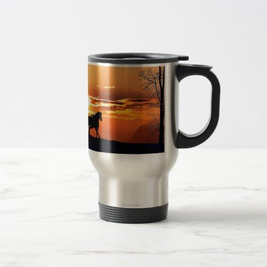 running horse  - sunset horse - horse travel mug