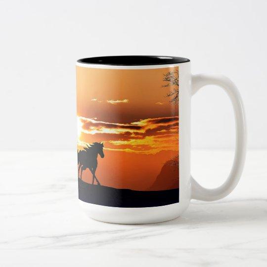 running horse  - sunset horse - horse Two-Tone coffee mug