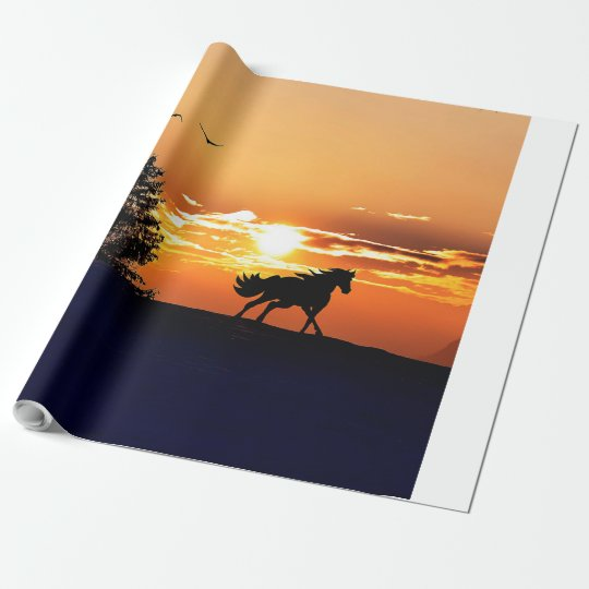 running horse  - sunset horse - horse wrapping paper