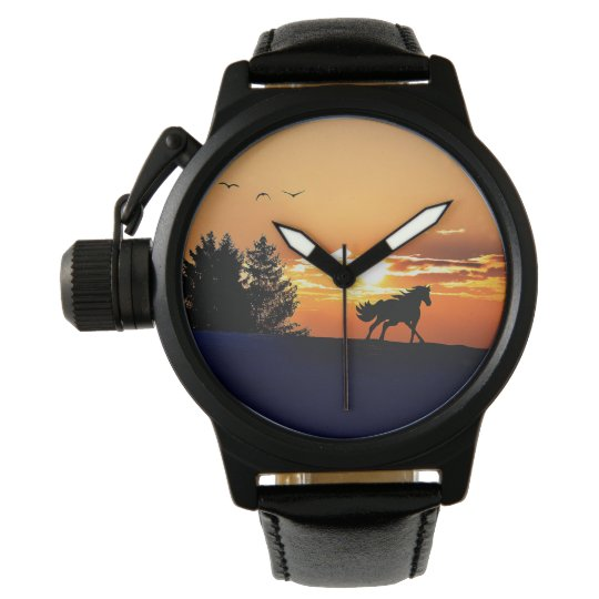 running horse  - sunset horse - horse wrist watch