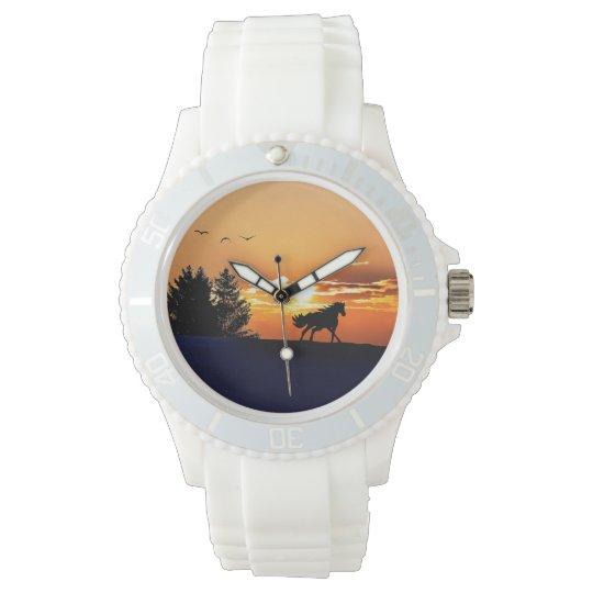 running horse  - sunset horse - horse wrist watch