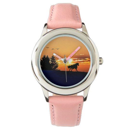 running horse  - sunset horse - horse wrist watches